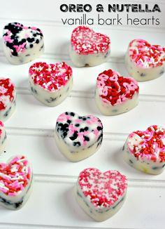oreo and nutella vanilla bark hearts candy