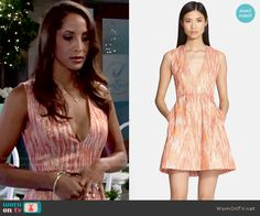 Lily's coral v-neck dress on The Young and the Restless.  Outfit Details: http://wornontv.net/51128/ #TheYoungandtheRestless