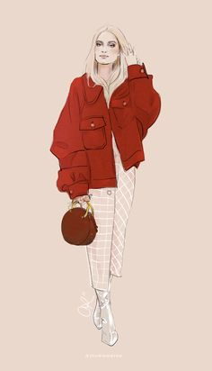 Chloé winter street style illustrated by Candace Napier Ross ( @studiomeroe ). | Chloe oversized coat + bag. Zara plaid wrap skirt, Balenciaga boots on Charlotte Groeneveld.