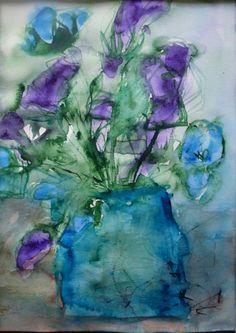 Birthday, Sirkkaliisa Virtanen,  watercolor 2014 Magical, Watercolor Art, Floral Art, Mystic, Painting, Art, Color, Close My Eyes
