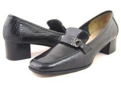 Salvatore Ferragamo Black Leather Horsebit Gator Embossed Loafer Pump Square 6 5 | eBay