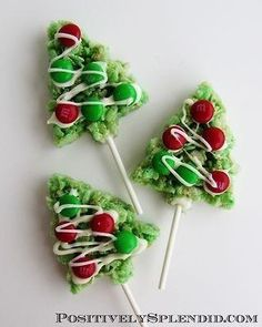 Rice krispy treats shaped & decorated like Christmas trees!