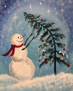 View Paint and Sip Artwork - Pinot's Palette Christmas Paintings On Canvas, Christmas Canvas, Christmas Projects, Snowmen Paintings, Winter Painting, Winter Art, Winter Colors, Christmas Rock, Painted Christmas Ornaments