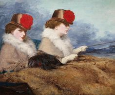 James Hayllar : Two Ladies in a Carriage Ride c.1860 #art #arte