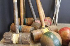 Vintage Croquet Set // Mallets // Balls // Wickets  // by MyBarn