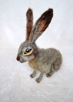 Custom needle felted hare - rabbit - bunny - made to order - custom pet portrait - memorial sculpture by Inkarno on Etsy