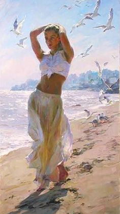 Morning Breeze a Garmash Original Painting available from J Watson Fine Art 661 your source for beautiful Michael and Inessa Garmash original paintings and limited edition artwork. Woman Painting, Figure Painting, Painting Canvas, Beach Walk, Beautiful Paintings, Beach Paintings, Art Paintings, Artist At Work, Love Art