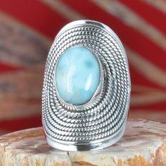 EXCLUSIVE 925 SOLID STERLING SILVER LARIMAR FANCY RING 9.83g DJR11308 SZ-6.5 #Handmade #Ring
