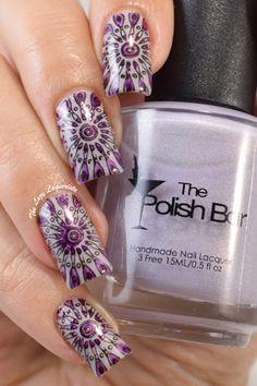 Purple Kaleidoscope Nail Stamping, Nail Art.  The Polish Bar White Lilac, Moyou London Kaleidoscope plate 03, China Glaze Liquid Leather and OPI Purple Perspective.