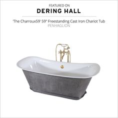 'The Charroux-IB' Cast Iron Chariot Tub with HAND BURNISHED Natural Iron Exterior by Penhaglion #BeDering @Deringhall Antique Bathtub, Clawfoot Bathtub, Tub With Glass Door, Bathtubs For Sale, Grey Baths, Cast Iron Bathtub, Vintage Tub, Tub Faucet, Glass Shower