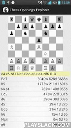 Chess Openings Explorer  Android App - playslack.com , Database of all 2.3M standard games played in 2012 on The Free Internet Chess Server (http://www.freechess.org/)Sorted by opening moves, white/black win/draw statistics includedRequires 700MB available space on SD card for the uncompressed games database, additionally to the app itself.Please send your feedback, it will be appreciatedThe source code is here: https://github.com/duzenko/chess-opening-explorerSTORAGE issue. Recently I have…