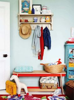 cute coat rack, doorway storage for a kids room, love the colors and mix of vintage and modern