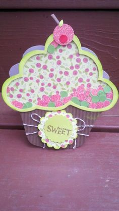 """Practical Scrapper Kerri created this fun cupcake shaker card using her 5/16"""" circle punch to create the confetti inside.  This is too cute!"""