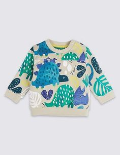 Marks and Spencer Pure Cotton Dinosaur Print Baby Jumper