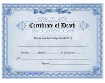 Medical certificate of death what does a death certificate look commemorate the death of a loved one spouse or family member by making our own certificate of death with our free blank death certificate templates yadclub Choice Image