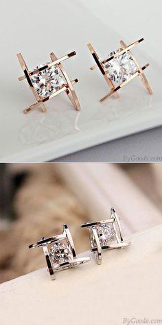 Fashion Unique Tic Tac Toe Triangle Zircon Earrings Studs for big sale! #tac #toe #tic #Unique #fashion #earrings