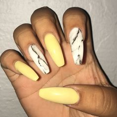 Yellow and marble nails
