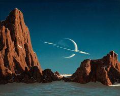 Saturn as seen from Titan, painted by Chesley Bonestell, - Bel Art, Alien Planet, Saturn Planet, Arte Sci Fi, Illustrator, 70s Sci Fi Art, Alien Worlds, Mountain Paintings, Science Fiction Art