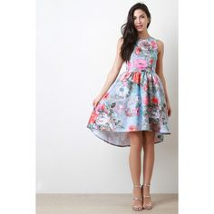 Floral Open Back High Low Hem Dress ($55) ❤ liked on Polyvore featuring dresses, circle skirt, floral skater dress, skater skirt dress, white dress and floral dress