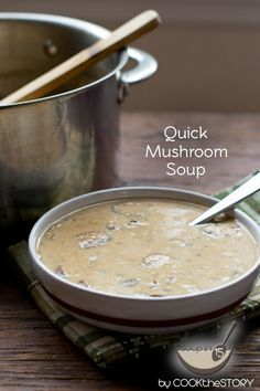 Homemade Cream of Mushroom Soup in just 15 minutes! This recipe is quick and easy