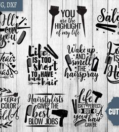 hairstylist quotes Hairdresser SVG Bundle, hairstylist svg pack cut files - SVG / DXF / PNG for Cricut and Silhouette studio This listing includes: 10 SVGs 10 PNGs 10 DXFs (compatib Hairdresser Quotes, Hairstylist Quotes, Hairstylist Problems, Santa Quotes, Salon Signs, Hair Quotes, Hair Sayings, Love Your Hair, Svg Cuts