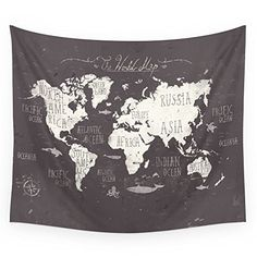 "Society6 The World Map Wall Tapestry Small: 51"" x 60"" Society6 http://www.amazon.com/dp/B017NBY3G0/ref=cm_sw_r_pi_dp_PQ-ywb1X13H35"