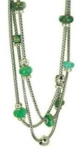 Take a look at these sterling silver Trollbeads necklaces!  Love green!
