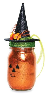 Halloween Jack-O-Lantern Mason Jar Turn an ordinary mason jar into a darling piece of Halloween decor.