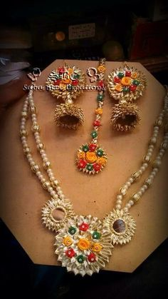 Gota Traditional Indian Jewellery, Indian Jewelry, Gota Patti Jewellery, Pakistani Bridal Jewelry, Jewelry Crafts, Handmade Jewelry, Rakhi Design, Fabric Earrings, Floral Necklace
