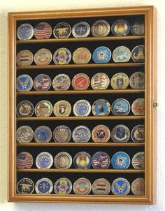 Small Military Challenge Coin Display Case Cabinet - Oak