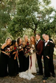 These hunnies' Arizona wedding was an elegant blend of burgundy, black + champag. These hunnies' Arizona wedding was an elegant blend of burgundy, black + champagne colors Black Bridesmaids, Black Bridesmaid Dresses, Black Wedding Dresses, Wedding Bridesmaids, Wedding Bouquets, White Tuxedo Wedding, Wedding Black, Black Weddings, Gothic Wedding