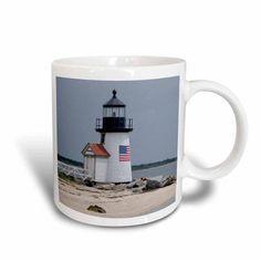 3dRose Massachusetts, Nantucket. Brant Point Lighthouse., Ceramic Mug, 15-ounce