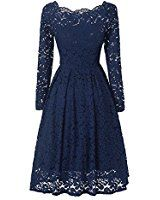 Women's Vintage Floral Lace Long Sleeve Boat Neck Cocktail Formal Swing Dress (S, Navy Blue)
