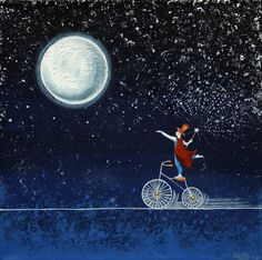 Magical Night by Graciela Bello Sun Moon Stars, Sun And Stars, Night Illustration, Moon Pictures, Good Night Moon, Moon Magic, Beautiful Moon, Bike Art, Moon Art