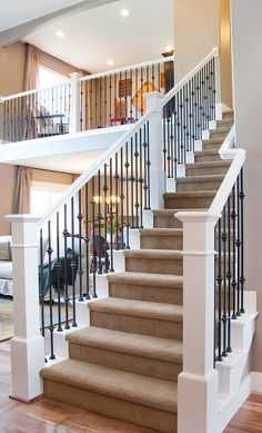 Staircase Design Inspiration, Pictures and Remodels Traditional Staircase Wrought Iron Stairs Design, Pictures, Remodel, Decor and Ideas – white with iron rails Wrought Iron Stair Railing, Staircase Railings, Stairways, Banisters, Iron Balusters, Iron Spindle Staircase, Wood Railing, Rod Iron Railing, Black Railing