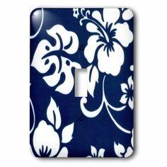 3dRose Hawaiian Tribal Print, Blue and White, Single Toggle Switch