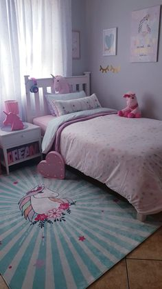Girls Room Design, Teen Bedroom Designs, Bedroom Ideas, Small Room Bedroom, Girls Bedroom, Unicorn Bedroom Decor, Baby Girl Room Decor, Daughters Room, Little Girl Rooms