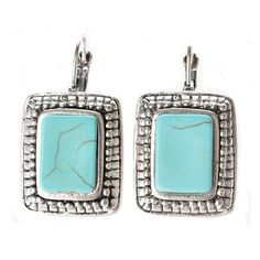 Ginasy Silver Plated Square Turquoise Earrings