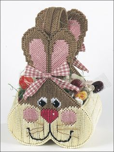 Big Bunny Basket Plastic Canvas Pattern Download from e-PatternsCentral.com -- Stitch an adorable bunny basket for Easter!