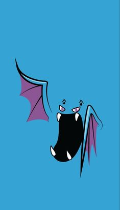 Golbat bites down on prey with its four fangs and drinks the victim's blood. It becomes active on inky dark moonless nights, flying around to attack people and Pokémon. Pokemon Faces, All Pokemon, Draw Pokemon, Type Pokemon, Japanese Wallpaper Iphone, Go Wallpaper, Pokemon Lock Screen, Festa Pokemon Go, Pokemon Backgrounds