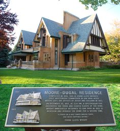 The Moore-Dugal residence (333 Forest Ave) in Oak Park, IL. Originally architected and built by Frank Lloyd Wright in 1895. In 1922 the 3rd and 4th floors were destroyed in a fire. Frank Lloyd Wright returned to rebuild it in 1923. http://www.oakparkdining.com