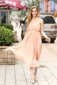 Elegant Flowing Peach Dress