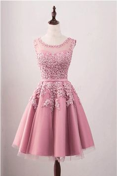 Sale Trendy Sleeveless Homecoming Dresses,  A Line Applique Tulle Short Homecoming Dress,Cocktail Party Dresses,Graduation Dresses  #homecomingdresses #partydress #shortdresses #pinkpromdresses