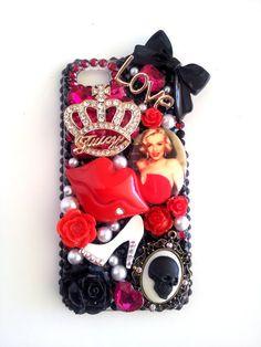 Red Diva Marilyn Monroe Juicy apple iphone 5 bling by angeljoker67 ~Rockabilly Style~