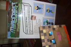 Minecraft Craft~guests pixelate themselves on a paper bag, similar to making a mosaic