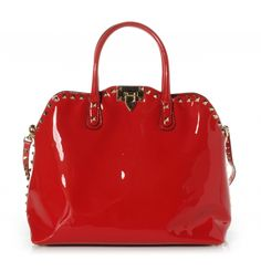 This is an authentic VALENTINO GARAVANI Patent Leather Rockstud Dome Satchel in Red.  This stunning tote is beautifully crafted of glossy patent leather and features tall strap top handles an optional shoulder strap and brass square studs that outline the bag for a stunning look.
