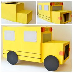 Transforming cardboard boxes into a yellow school bus.
