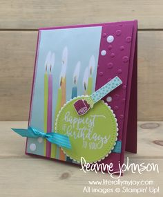 Candles & Sequins | Stampin\' Up! | Picture Perfect Birthday #literallymyjoy #birthday #celebrate #candles #sequins #heatembossing #BerryBurst #LemonLimeTwist #PicturePerfectPartyDSP #2018OccasionsCatalog #20172018AnnualCatalog