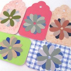 5 Paint Chip Flower Embellished Gift Tags in Pastel Colors ...