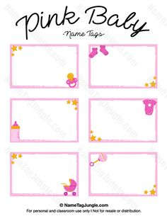 Free printable pink baby name tags. The template can also be used for creating…